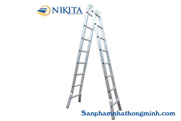 Thang nhôm chữ A 2.5m NIKITA NIKA25 Thang nhôm chữ A NIKIAT NIKA25được sản xuất trên dây chuyền công nghệ hiện đại của Nhật Bản, chất lượng uy tín và độ an toàn rất cao, bảo hành dài hạn.Thang sử dụng lẫy khóa sập tự động, khi mở ra đến cử sẽ tự động khóa lại. Bậc thangchữ A được đột dập 3 lần rất chắc chắn và độ thẩm mĩ cao, các đường kẻ của thang được dập chỉn chu, không bị móp méo, rất thẩm mỹ và phù hợp cho mọi công việc của chúng ta.. Hãng sản xuất NIKITA Công nghệ sản xuất  Nhật Bản Sản xuất tại  Việt Nam Mã Sản Phẩm  Nika25 Chiều cao chữ A  2.5m Chiều cao bật thẳng  5m Số bậc chữ A  8 bậc Số bậc chữ I  16 bậc Độ dày nhôm  1.5-2mm Độ rộng bản nhôm  6.3cm Trọng lượng  8.6kg Tải trọng 150kg Trang bị Đế cao su chống trượt Màu sắc Nhôm trắng Chứng chỉ An toàn Châu Âu EN 131 Bảo hành 18 tháng. Bảo hiểm Bảo Minh Thang nhôm chữ A 2.0m Nikita Nika25 Thang nhôm chữ A khóa sập tự động Nikita Nika25 là dòng thang nhôm khóa tự động có chiều cao 2.0m chữ A. Thang nhôm nikita chữ A có thể bật thẳng lên với chiều cao 5m. Thang nhôm chữ A phù hợp với những công việc ở độ cao trung bình.Thang khóa sập tự động khi mở ra tới cữ chữ A thì hệ thống khóa sẽ tự động chốt lại nên rất tiện lợi. không mất thời gian khóa bằng tay, chức năng bật thẳng cũng tương tự, khi tới cữ thì khóa thang sẽ tự động khóa lại theo góc cố định để chúng ta sữ dụng. Thang nhôm chữ A nikita nika25được sản xuất trên dây chuyền công nghệ hiện đại của Nhật Bản, chất lượng uy tín và độ an toàn rất cao, bảo hành dài hạn.Thang sử dụng lẫy khóa sập tự động, khi mở ra đến cử sẽ tự động khóa lại. Bậc thangchữ A được đột dập 3 lần rất chắc chắn và độ thẩm mĩ cao, các đường kẻ của thang được dập chỉn chu, không bị móp méo, rất thẩm mỹ và phù hợp cho mọi công việc của chúng ta.. Thang nhôm NIKITA NIKA25 tương đối nhỏ gọn khi gấp gọn với chiều cao thang chỉ có 2.5mvà độ rộng thang là0.52m . Thang có trọng lượng chỉ 8.6kg, thang có thể di chuyển và cất giữ dễ dàng ở nhiều vị trí trong nhà,... Thang nhôm NIKITA NIKA25 có